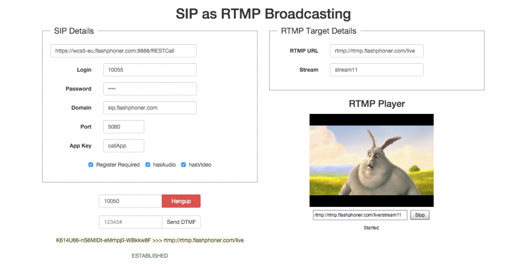 Demo_page_established_SIP_call_RTMP_broadcast_started