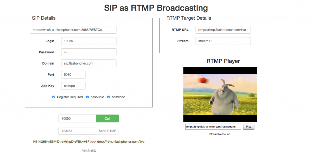 Finished_status_SIP_call_RTMP_player_demo_page