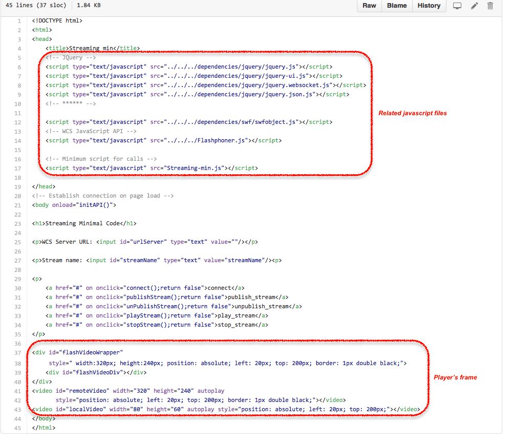 Two players code samples for embedding into the page