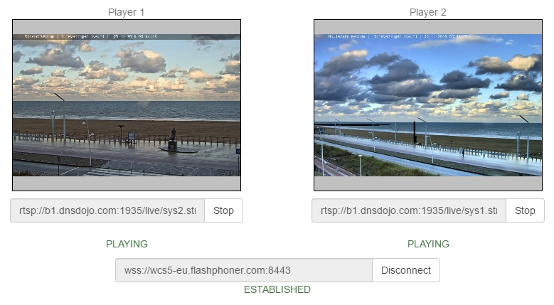 Testing RTSP-HTML5 player | Streaming Video WebRTC server and SIP