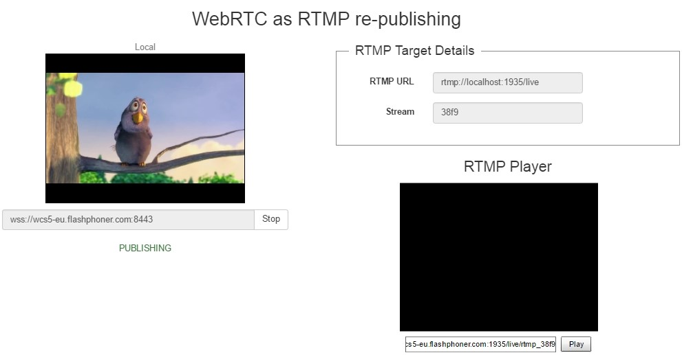 Testing of WebRTC re-publishing to YouTube Live as RTMP