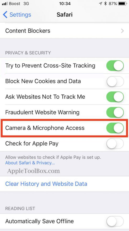 Enable/ disable the microphone in the settings of Safari browser
