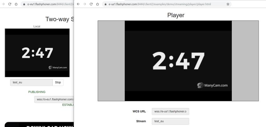 Dynamic CDN for Low Latency WebRTC Streaming Play EU stream from US Edge