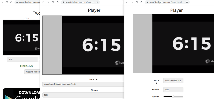 Dynamic CDN for Low Latency WebRTC Streaming Stream playing on Edge 2
