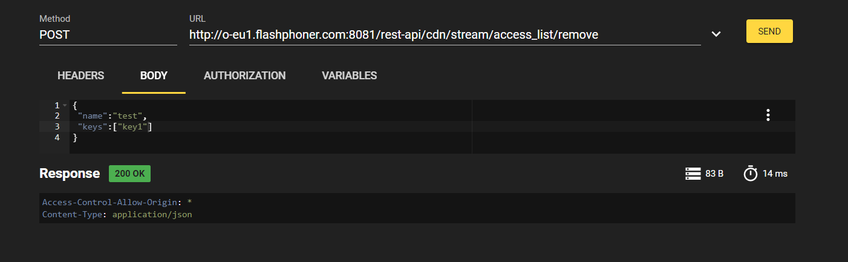 Dynamic CDN for Low Latency WebRTC Streaming with Stream Access Control Remove stream access key