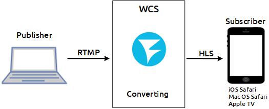 scheme_converting_WebRTC_HLS_WCS_RTSP_RTMP_iOS_browser_MacOS_CDN
