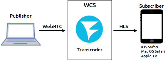 scheme_transcoding_WebRTC_HLS_WCS_RTSP_RTMP_iOS_browser_MacOS_CDN