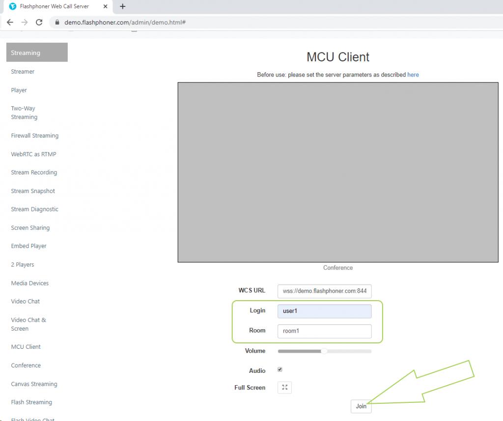enter parameter participant1 WCS WebRTC browser conference MCU realtime mixer