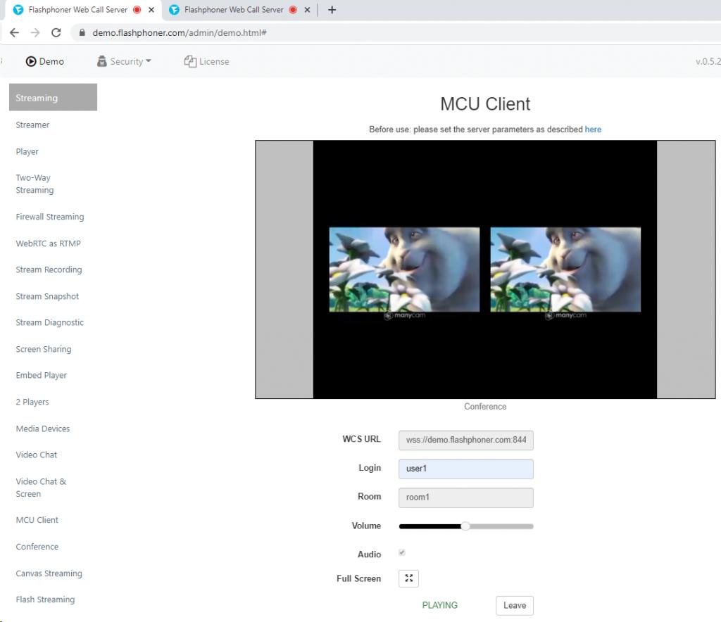 stream WCS WebRTC browser conference MCU realtime mixer