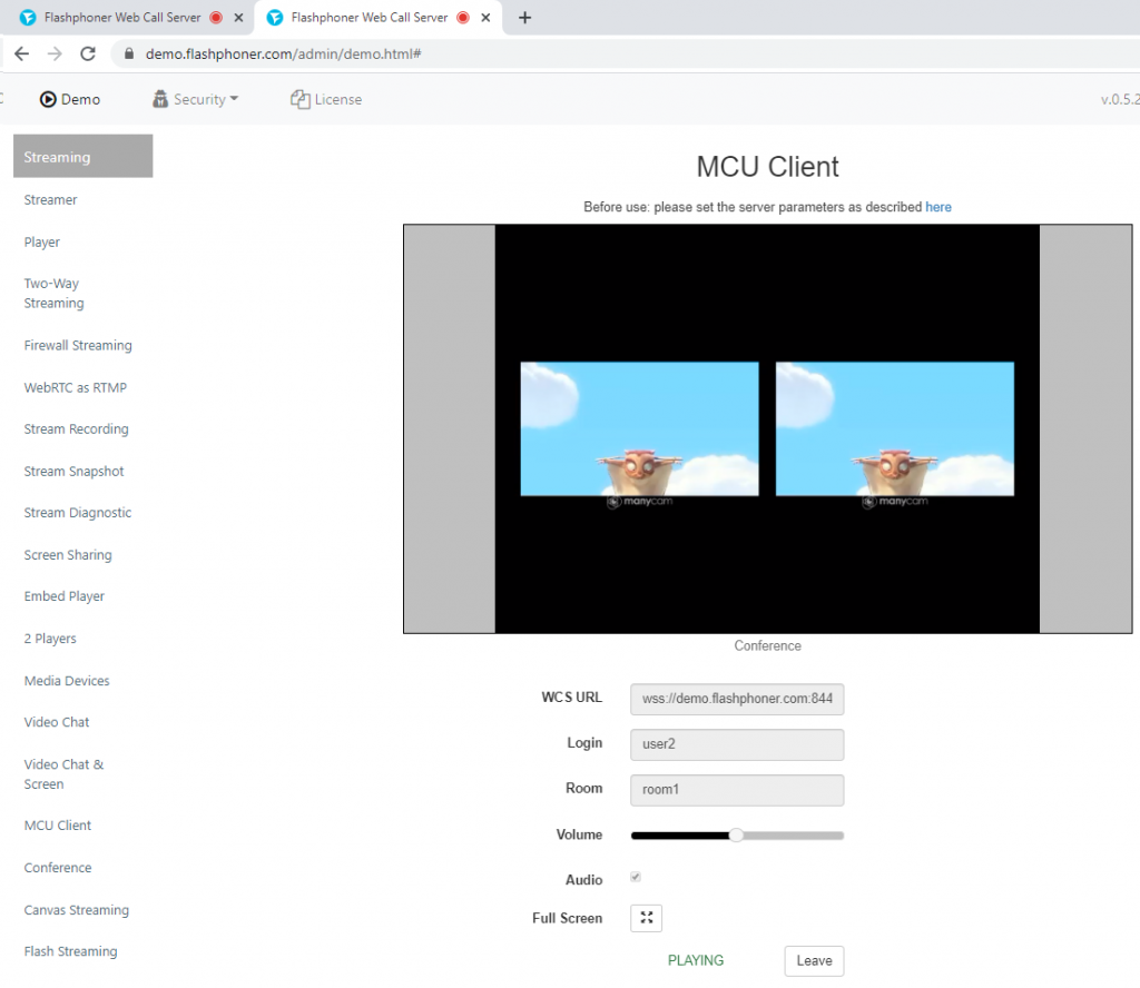 stream participant2 WCS WebRTC browser conference MCU realtime mixer