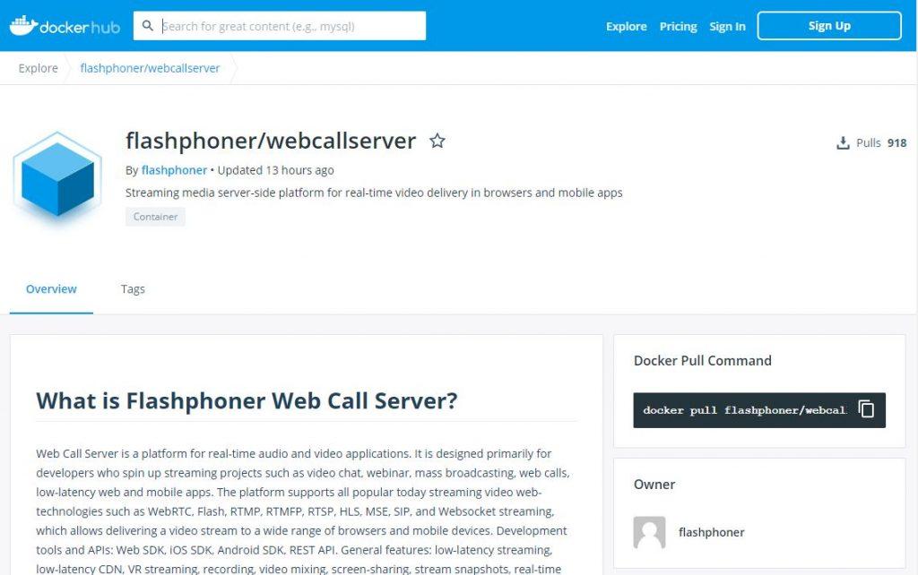 docker-hub-WCS_Docker_network_WebRTC_browser_CDN_streaming_publish