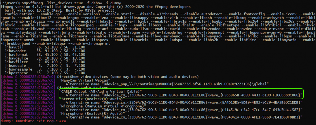 list_device_Cable_Output_ffmpeg_screensharing_WebRTC_RTMP_WCS_bitrate_codec_framerate_video_audio_stream